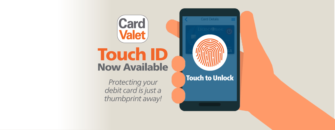 CardValet graphic with a thumb print touch to unlock. Touch IID now available.