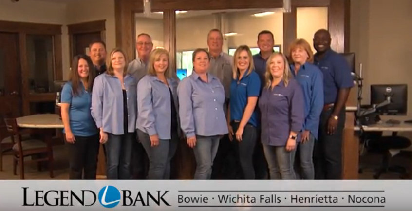 Photo of a group of bankers from Henrietta, Wichita Falls, Bowie and Nocona. Logo and branch locations listed.