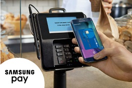 Samsung phone paying at a terminal