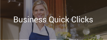 "Image of a female business owner at her door and image reads ""Business Quick Clicks"""