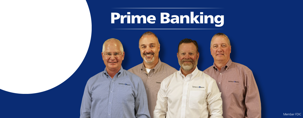 Prime Banking with photos of Mickey Faulconer, Jay Bearden, Jeff Brooks and Bret Meekins