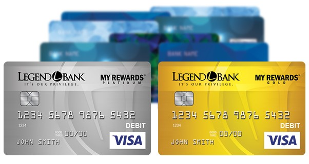My Rewards platinum and gold debit cards standing out in front of other credit cards