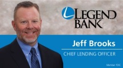 Jeff Brooks, Chief Lending Officer Photo and Legend Bank logo