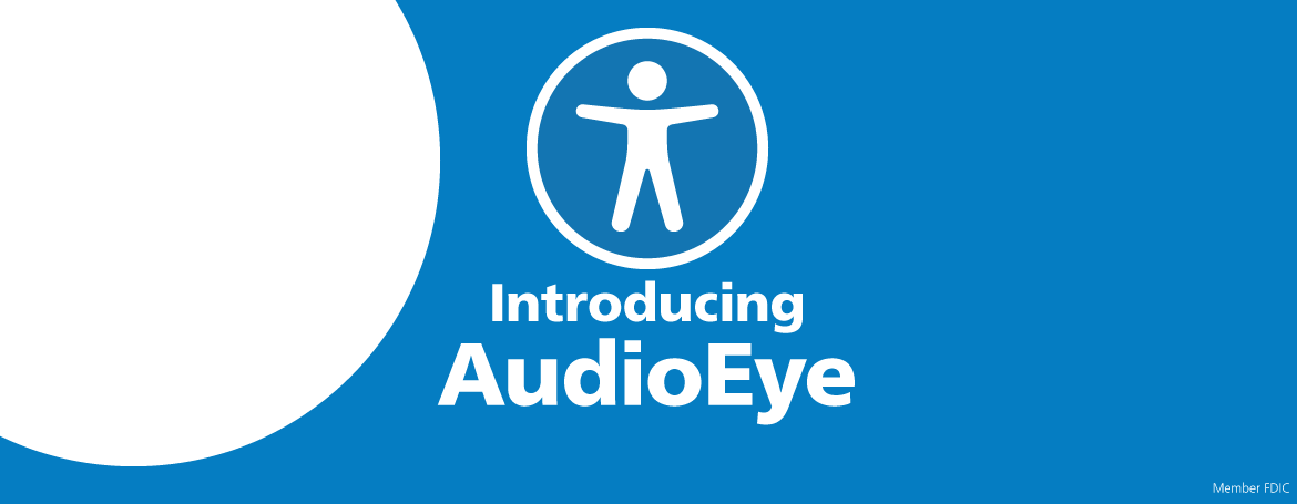 Introducing AudioEye graphic with AudioEye accessibility icon