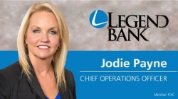 Jodie Payne, Chief Operations Officer Photo and Legend Bank Logo
