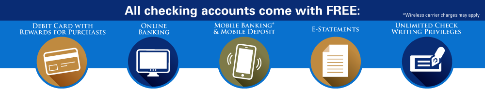 All checking accounts come with FREE: Debit Card with Rewards for purchases, Online Banking, Mobile Banking^ and Mobile Deposit, E-Statements, Unlimited Check Writing privileges