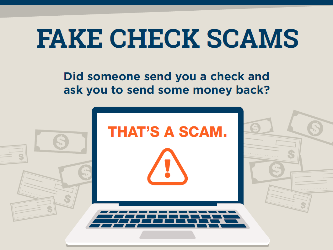 "Fake Check Scams image with laptop that says ""That's a Scam"""