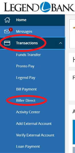Biller Direct transaction menu in Online Banking