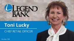 Toni Lucky Photo, Legend Bank logo,  Toni Lucky with title Chief Retail Officer