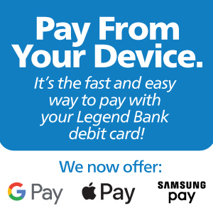 "Graphic with ""Pay from your Device"" - Google Pay, Apple Pay, Samsung Pay options, clicks to more info."