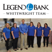 Photo of Legend Bank Whitewright team members with Legend Bank logo and Whitewright Team